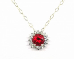 Ruby and Diamond Pendant with Chain 1.40tcw. - 9kt. Gold