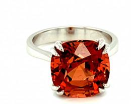 Master Cut Orange Tourmaline 3.30ct Solid 14K White Gold Ring