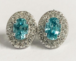 Stylish Natural Blue Zircon And Topaz Earring ~ Silver
