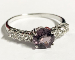 Stylish Natural Spinel Purple And Topaz Ring ~ Silver