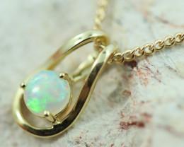 Cute Crystal Opal set in 9k Yellow Gold Pendant CK 555