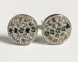Stylish Natural Green Diamond And Topaz ~ Sterling Silver 925  Earring