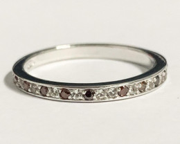 Stylish Natural Red diamond And Topaz Ring ~ Silver