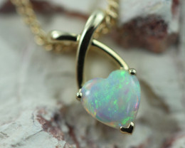Cute Lovers Heart Crystal Opal set in 9k Yellow Gold Pendant CK 557