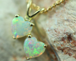 Cute Lovers Heart Crystal Opal set in 9k Yellow Gold Pendant CK 561