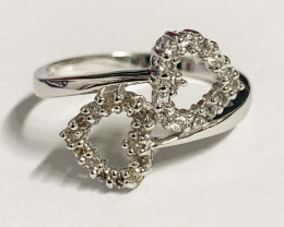 Stylish Natural Diamond And Topaz Ring ~ Silver