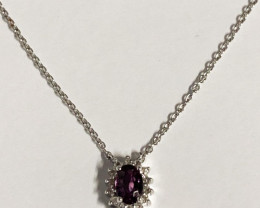 Natural  Purple Spinel And Topaz ~ Silver Necklace