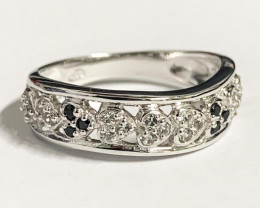 Stylish Natural Black Spinel And Topaz Ring ~ Silver
