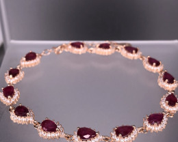 Natural Red Glass Fill Ruby Bracelet