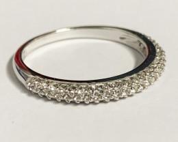 Stylish Natural White Topaz Ring ~ Silver