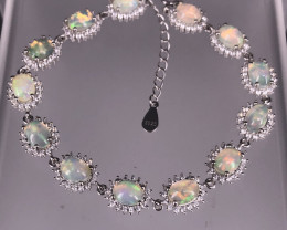 13.76gram Natural Multi Fire Opal Bracelet   SKU : 2