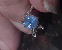 certified Sterling silver ring with sapphire