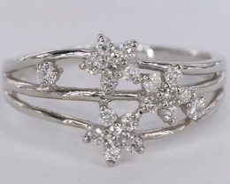 PLEASING NATURAL DIAMONDS IN 18K WHITE GOLD RING