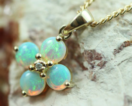 Cute Crystal Opal set in 9k Yellow Gold Pendant CK 565