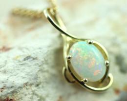 Cute Crystal Opal set in 9k Yellow Gold Pendant CK 569