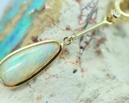Cute Crystal Opal set in 14k Yellow Gold Pendant CK 573