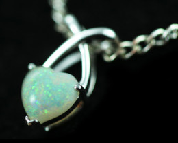 Cute Lovers Heart Crystal Opal set in 9k White Gold Pendant CK 578
