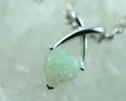 Cute Lovers Heart Crystal Opal set in 9k White Gold Pendant CK 579