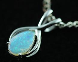Cute Crystal Opal set in 9k White Gold Pendant CK 584
