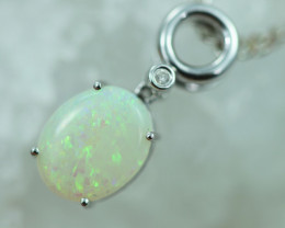 Cute Crystal Opal set in 14k White Gold Pendant CK 593