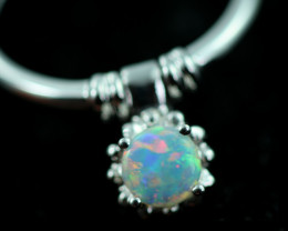 Cute Crystal Opal set in 18k White Gold Ring CK 597