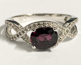 Stylish Natural Spinel Burma And Topaz Ring ~ Silver