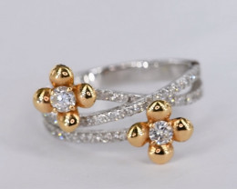 ADORABLE NATURAL DIAMONDS IN 18K WHITE GOLD RING