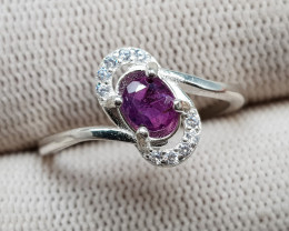 Natural Kashmir Sapphire 9.85 Carats 925 Silver Ring