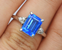 Natural Topaz , CZ and 925 Silver Ring
