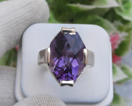 12.85 Ct Natural Amethyst 925 Silver Ring