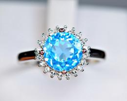Natural Swiss Blue Topaz , CZ 925 Silver Top Design Ring
