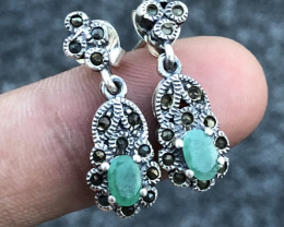 Natural Emerald And CZ Earrings.