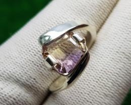 Natural BI Colour Bolivianite (Ametrine) Hand Made Silver Ring