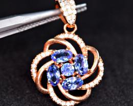 Natural 5 Pis Tanzanite , CZ 925 Silver Rose Gold Plating Beautiful Pendant