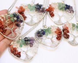 WHOLESALE 6 Colourful 7 chakra Gemstones, Handmade Tree Of life AHA 568