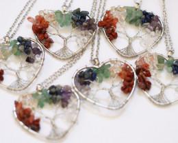 WHOLESALE 6 Colourful 7 chakra Gemstones, Handmade Tree Of life AHA 570