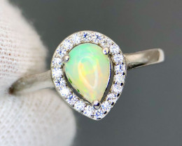 Natural Multicolor Opal With CZ 925 Silver Ring