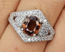 Natural Zircon , CZ and 925 Silver Ring