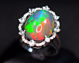Natural Top Opal with 32Pis White Sapphire 925 Silver Ring