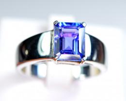 Natural Top Color Tanzanite 925 Silver Ring