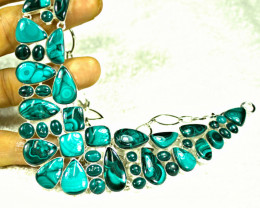 393.0 Tcw. Sterling Silver / African Malachite Necklace - Gorgeous