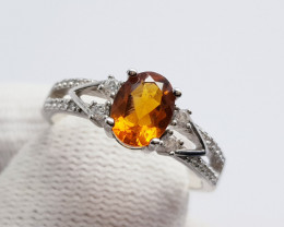 Natural Madeira Citrine 925 Sterling Silver Ring
