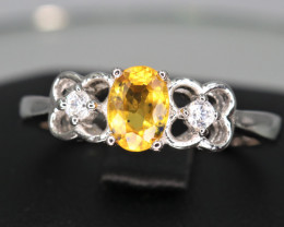 Attractive Natural Yellow Sapphire, CZ & 925 Sterling  Fancy Silver Ring
