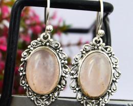 Genuine .925 Sterling Silver Rose Quartz Earring Pair
