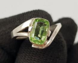 Natural Rutile Peridot 17.70 Carats 925 Hand Made Silver Ring