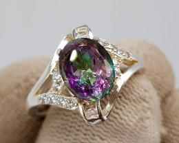 Natural Mystic Quartz 19.10 Carats 925 Silver Ring