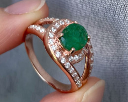 Natural Zambian Emerald Pink Gold Over Sterling Silver F19