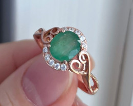 1.38Ct Natural Zambian Emerald Pink Gold Over Sterling Silver F08