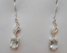 Natural Aquamarine 925 Silver Earring