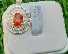Natural Spessartite Garnet 925 Silver Pendant